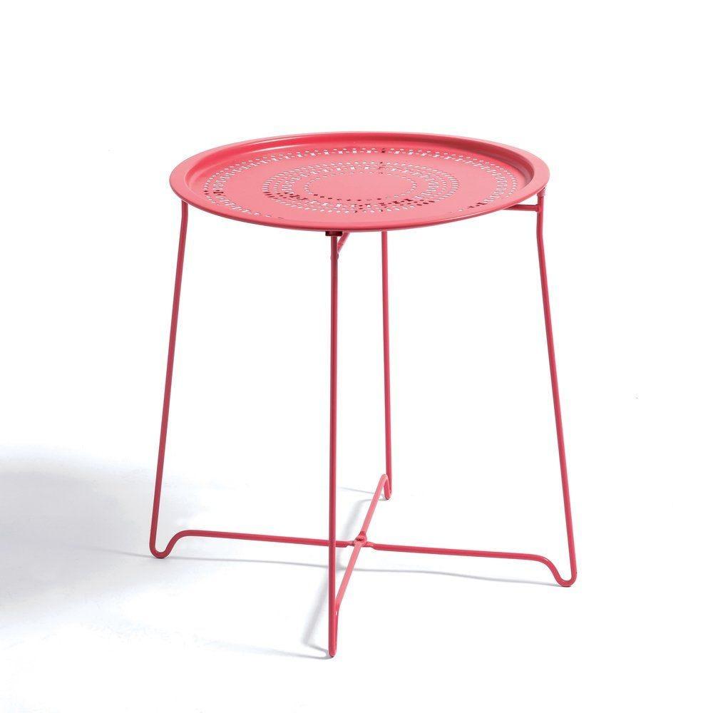Table en métal rose D 54 x H 52cm (photo)