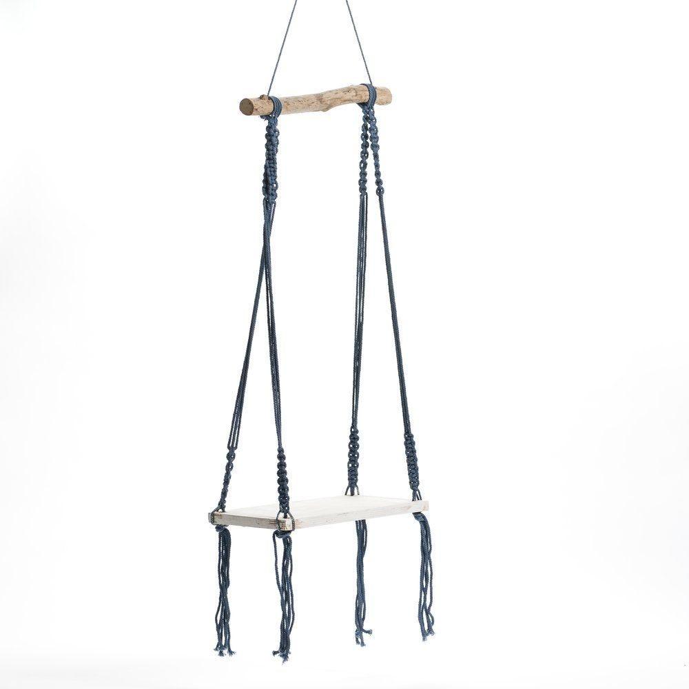 Balançoire en bois à suspendre avec corde bleue L 34 x H 85 cm (photo)