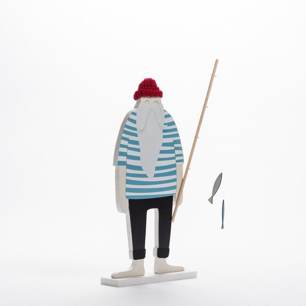 Marin en bois rouge et blanc sur socle L 21 x P 5 x H 47 cm (photo)