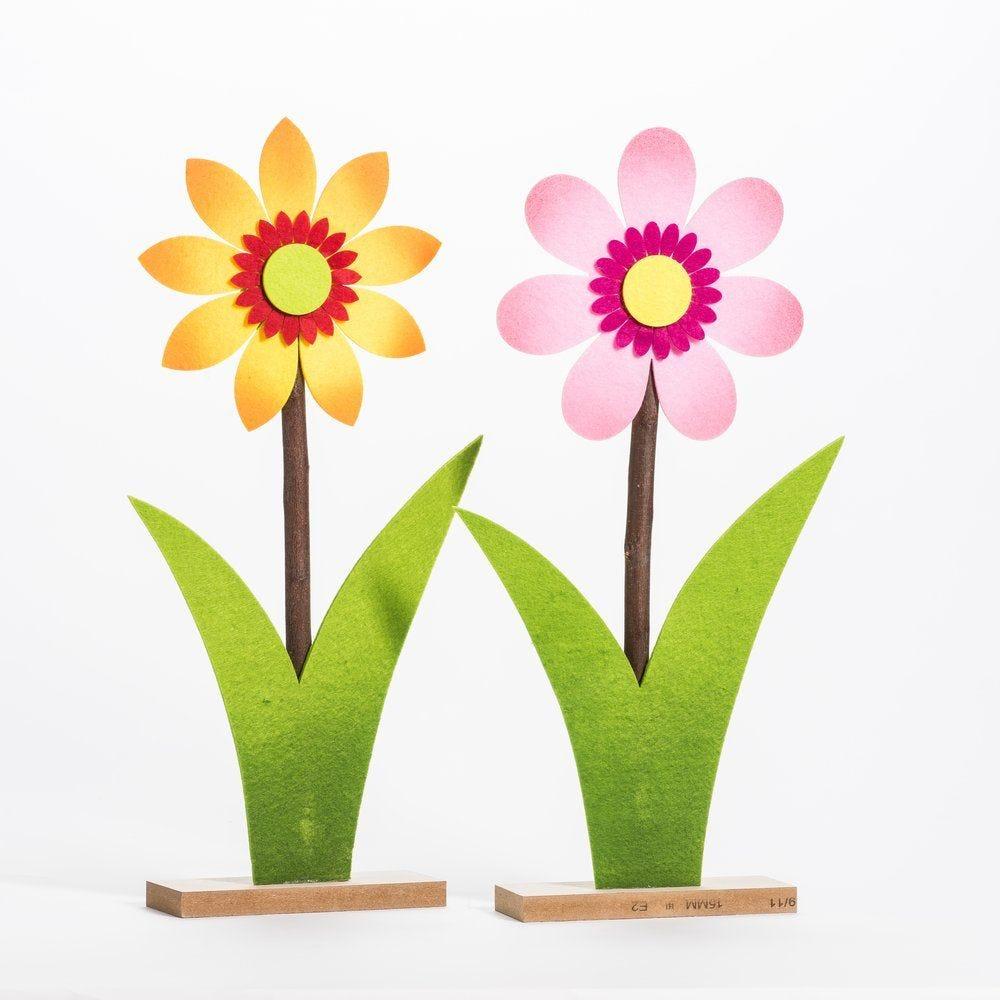 Fleur en feutrine sur socle en bois H 47 cm - 2 coloris possibles (photo)
