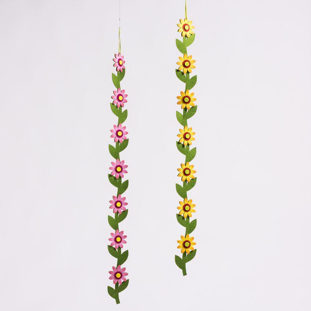 Guirlande de fleurs en feutrine L 100 cm - 2 coloris possibles (photo)