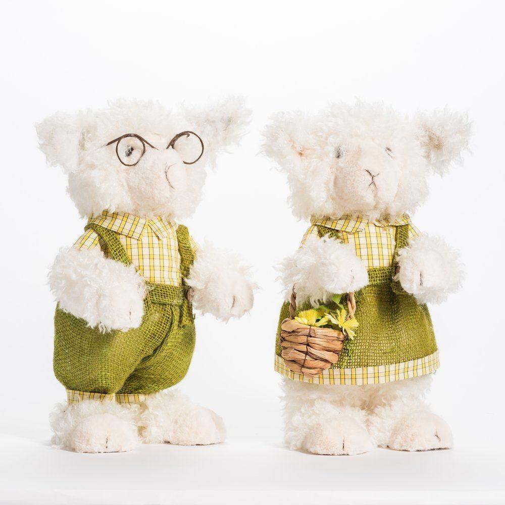 Mouton blanc chemise à carreaux 18x26x40cm - 2 modèles possibles (photo)