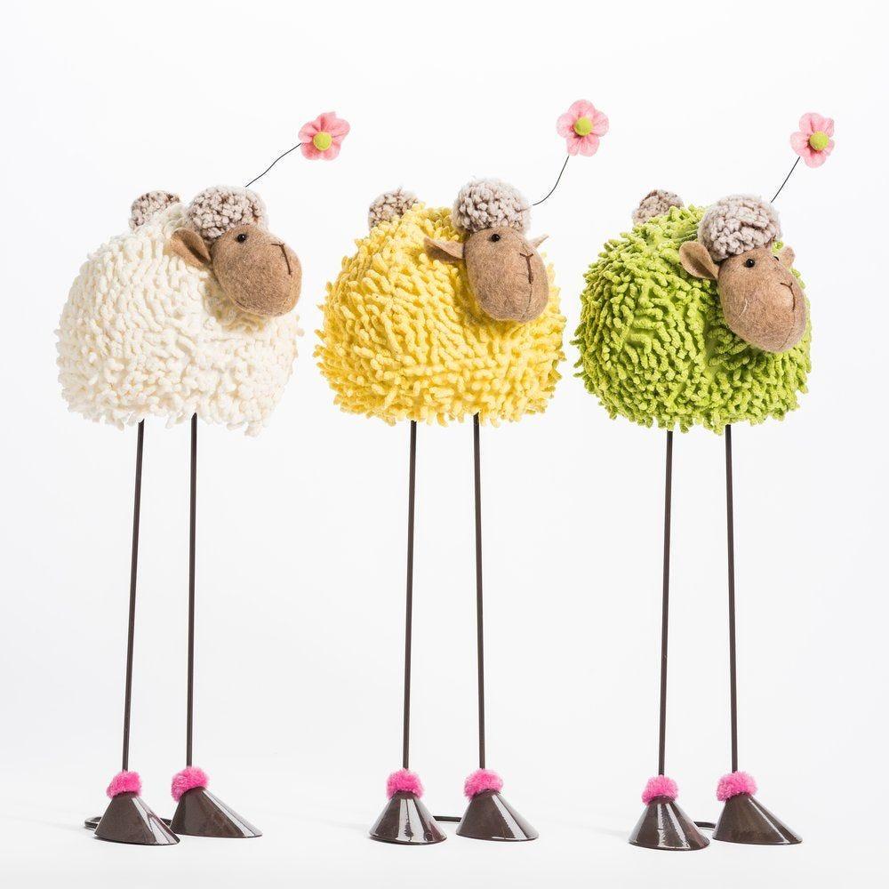Mouton boule haut sur pattes L 21 x H 45 cm - 3 coloris possibles (photo)