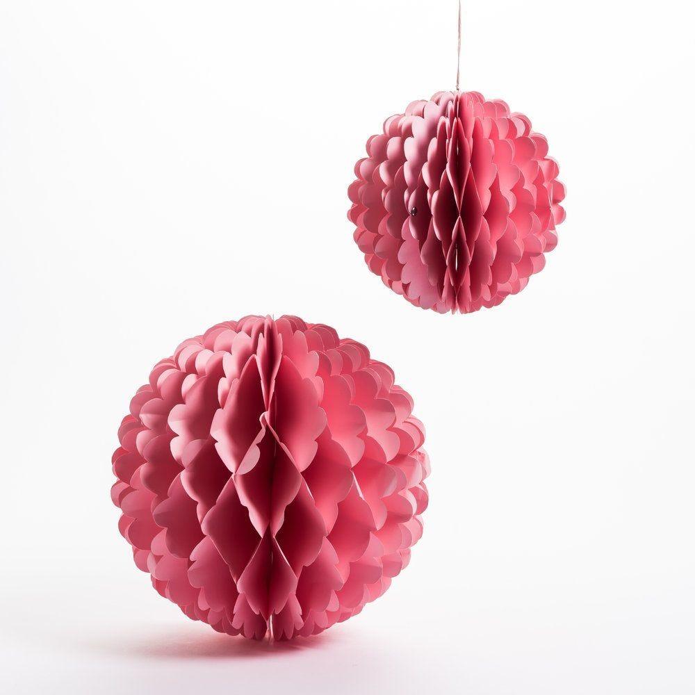 Boule en papier rose Ø 20 +30cm - lot de 2