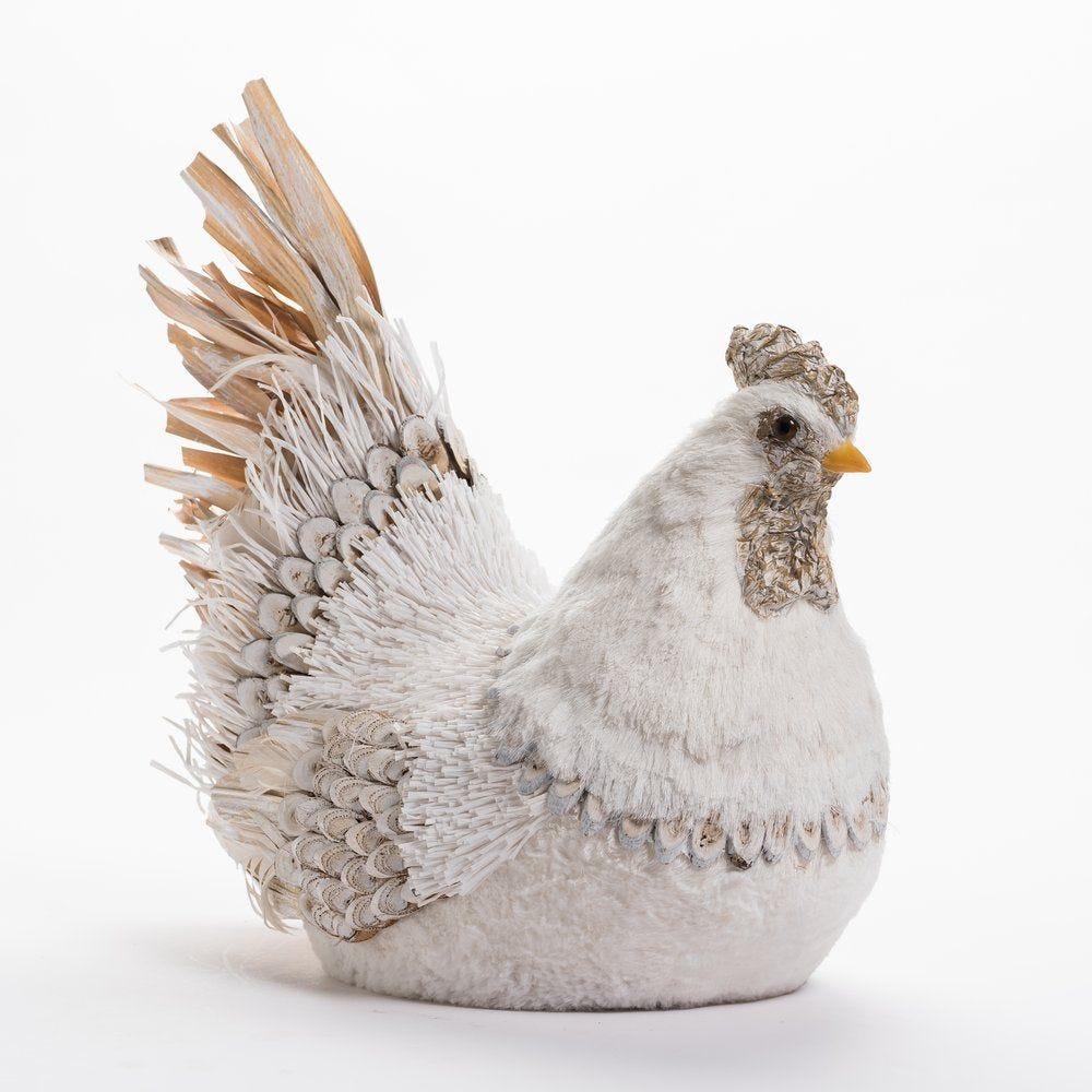 Poule blanche et beige L 46 x P 23 x H 29 cm (photo)