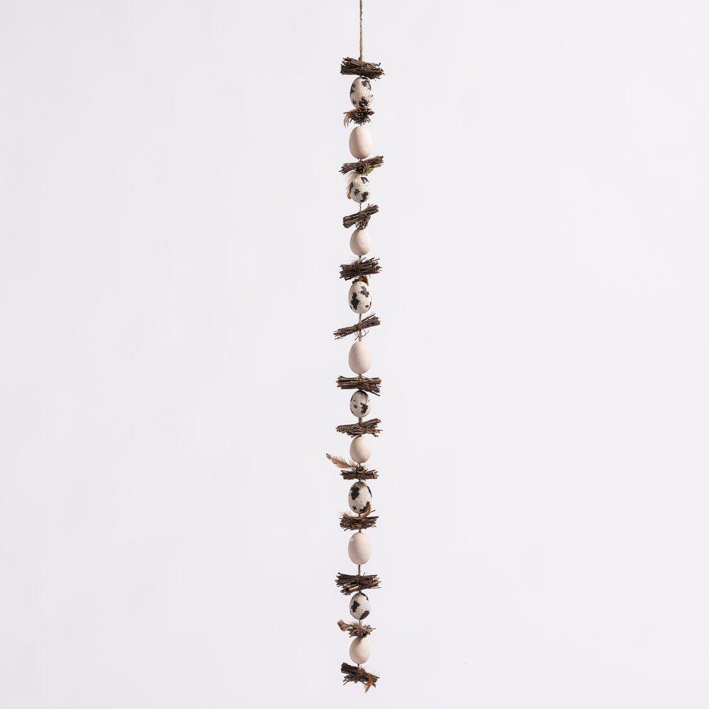 Guirlande oeufs et fagots bois L 110 cm (photo)