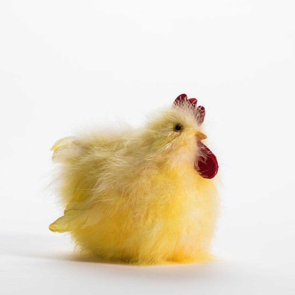 Poule plumes jaunes L 28 x P 14 x H 20 cm (photo)