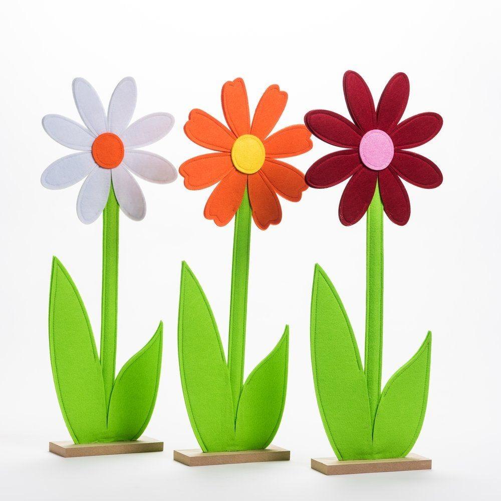 Fleur en feutrine sur socle en bois H 63 cm - 3 coloris possibles