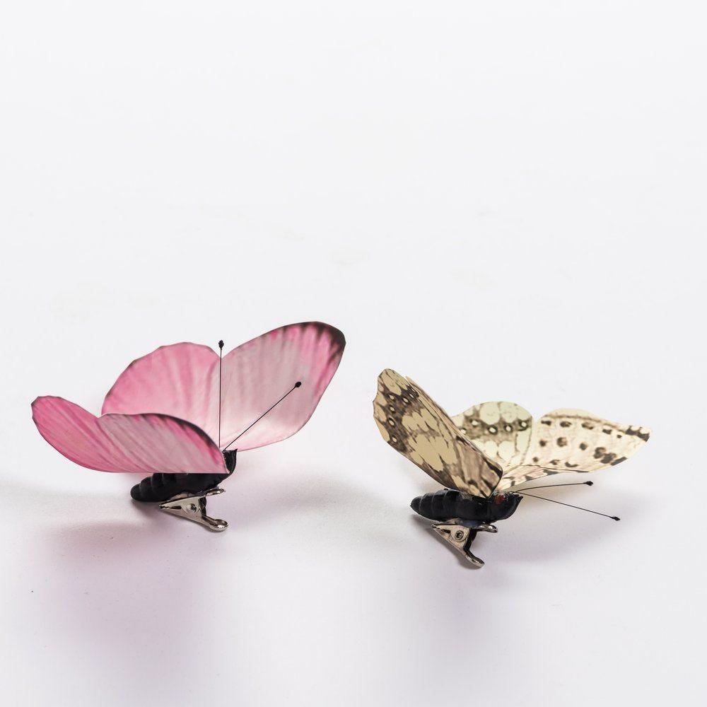 Papillons rose et crème assortis L 9.5 x H 6.5 + L 9.5 x H 7,2 cm (photo)
