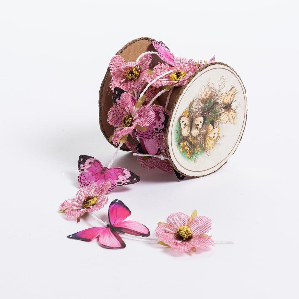 Guirlande de papillons et fleurs roses L 185cm (photo)