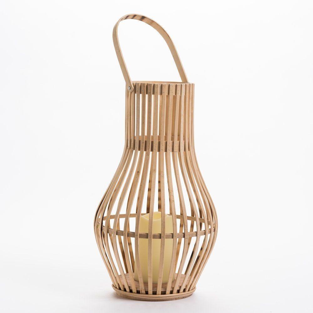 Lanterne en bambou avec bougie led D 22 x H 39cm (photo)
