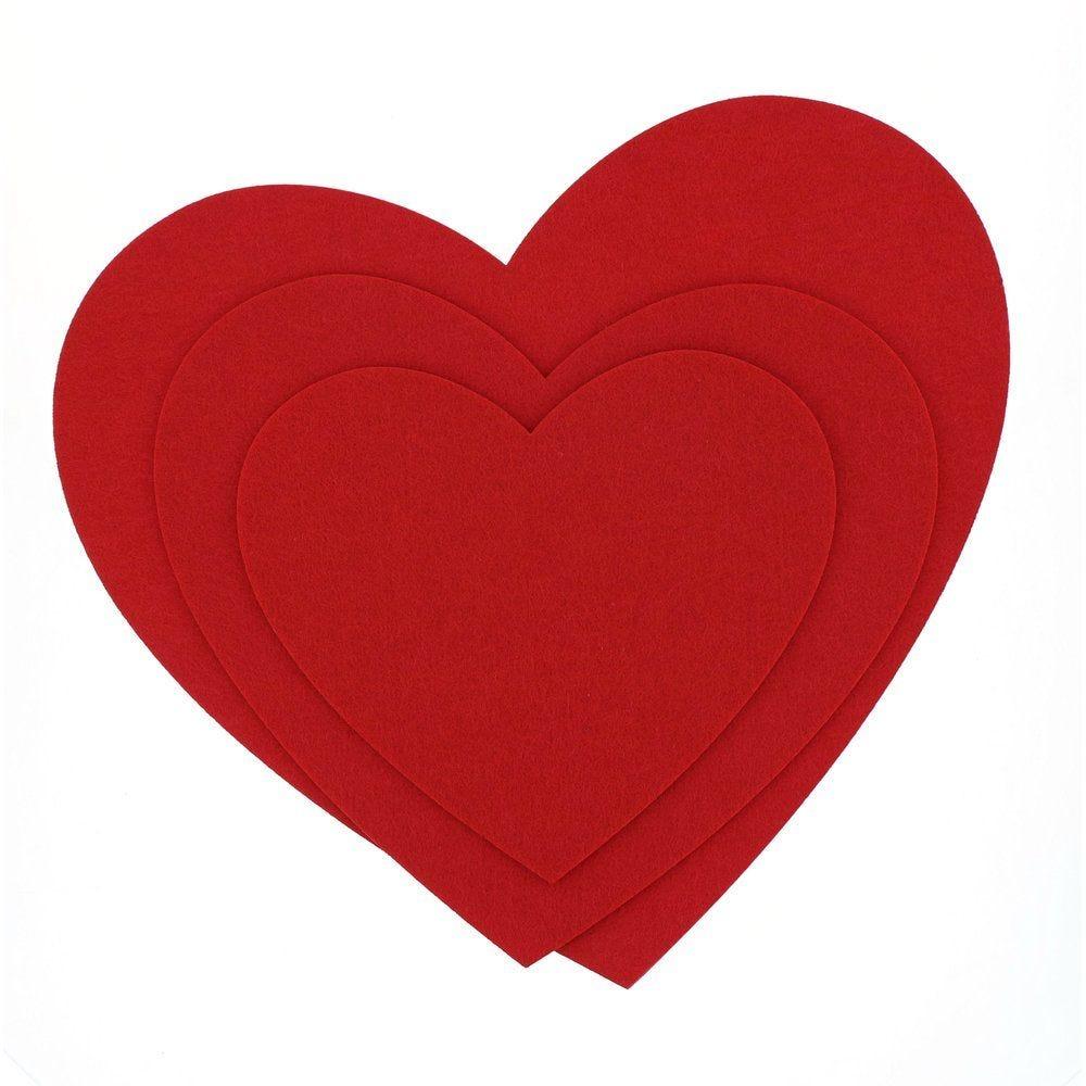 Coeurs en feutrine rouge à suspendre L 36 x H 41 + L 29 x H 33 + L 22 x H 25cm (photo)
