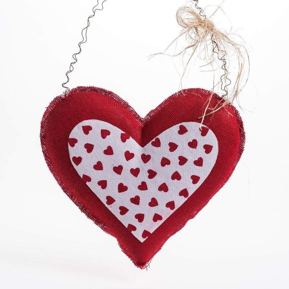 Coeur rouge et intérieur mini coeurs à suspendre L 42 x H 41 cm (photo)