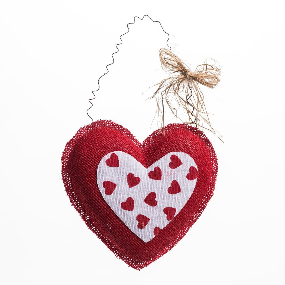 Coeur rouge et intérieur mini coeurs à suspendre L 23 x H 21 cm (photo)