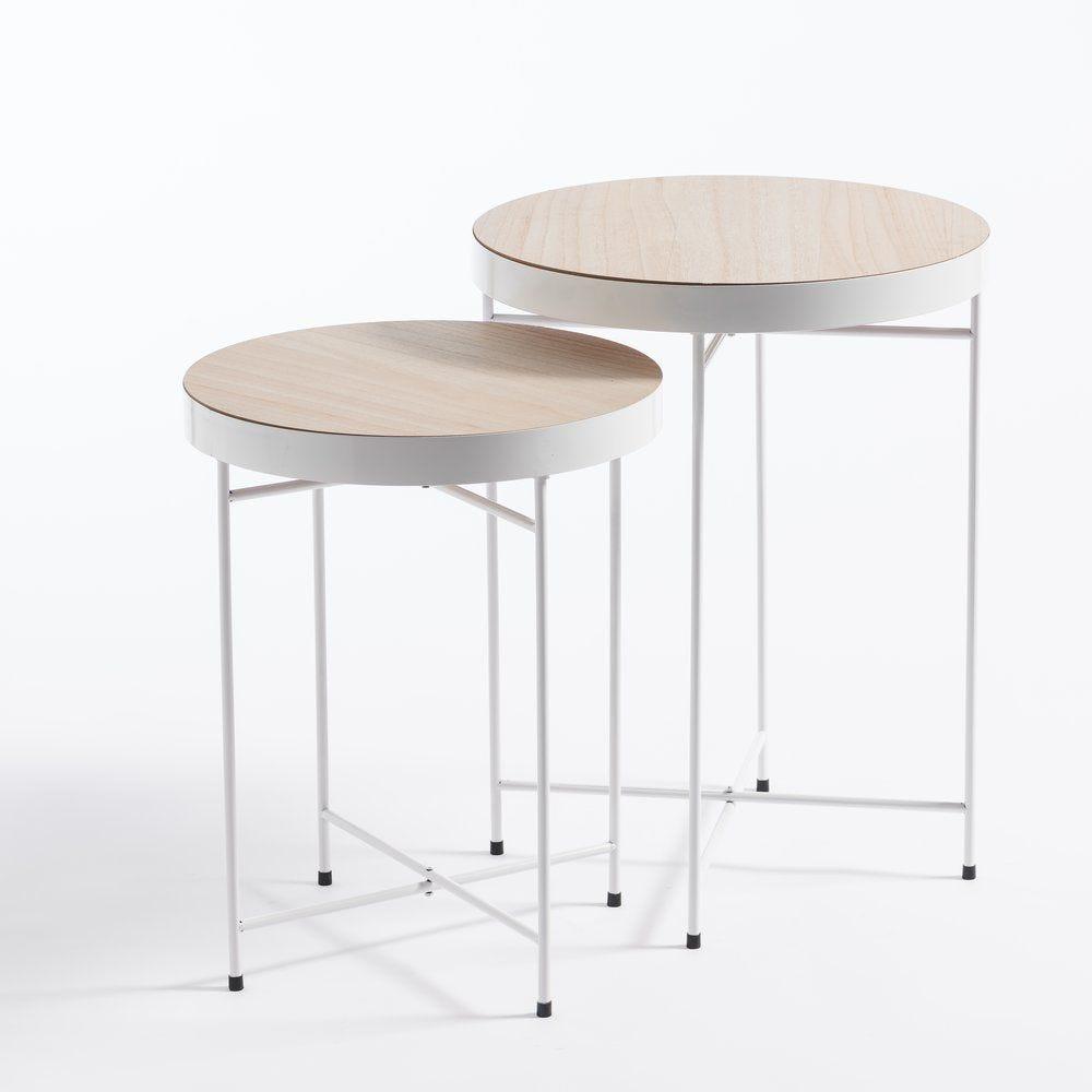 Tables plateau bois et pieds en métal blanc 45x58cm et 40x51cm (photo)