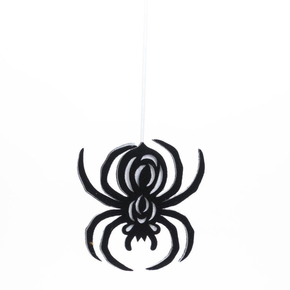 Araignée en ouate noire à suspendre L 25 x H 27 cm (photo)