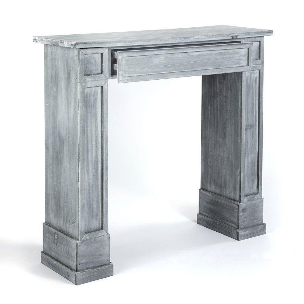 Cheminée grise avec tiroir en L 90 x P 30 x H 80 cm (photo)