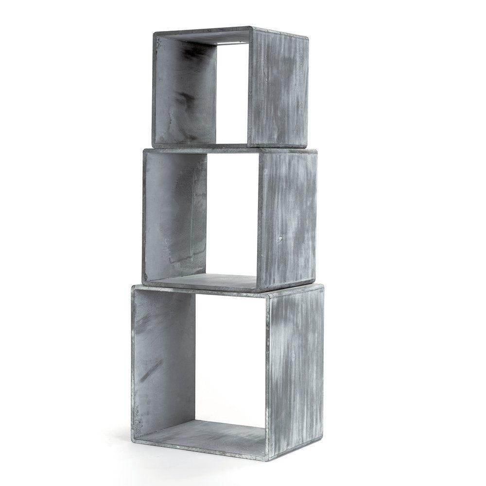Cubes gris L 35 x P 25 x H 35 +  L 30 x P 25 x H 30 + L 25 x P 25 x H 25 cm - x3 (photo)