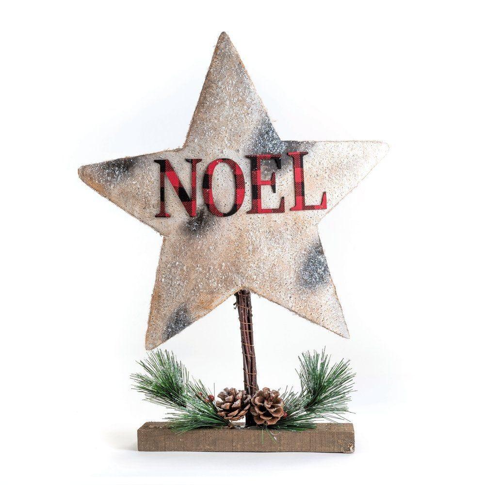Etoile texte Noël à poser L 38 x P 7 x H 50 cm (photo)