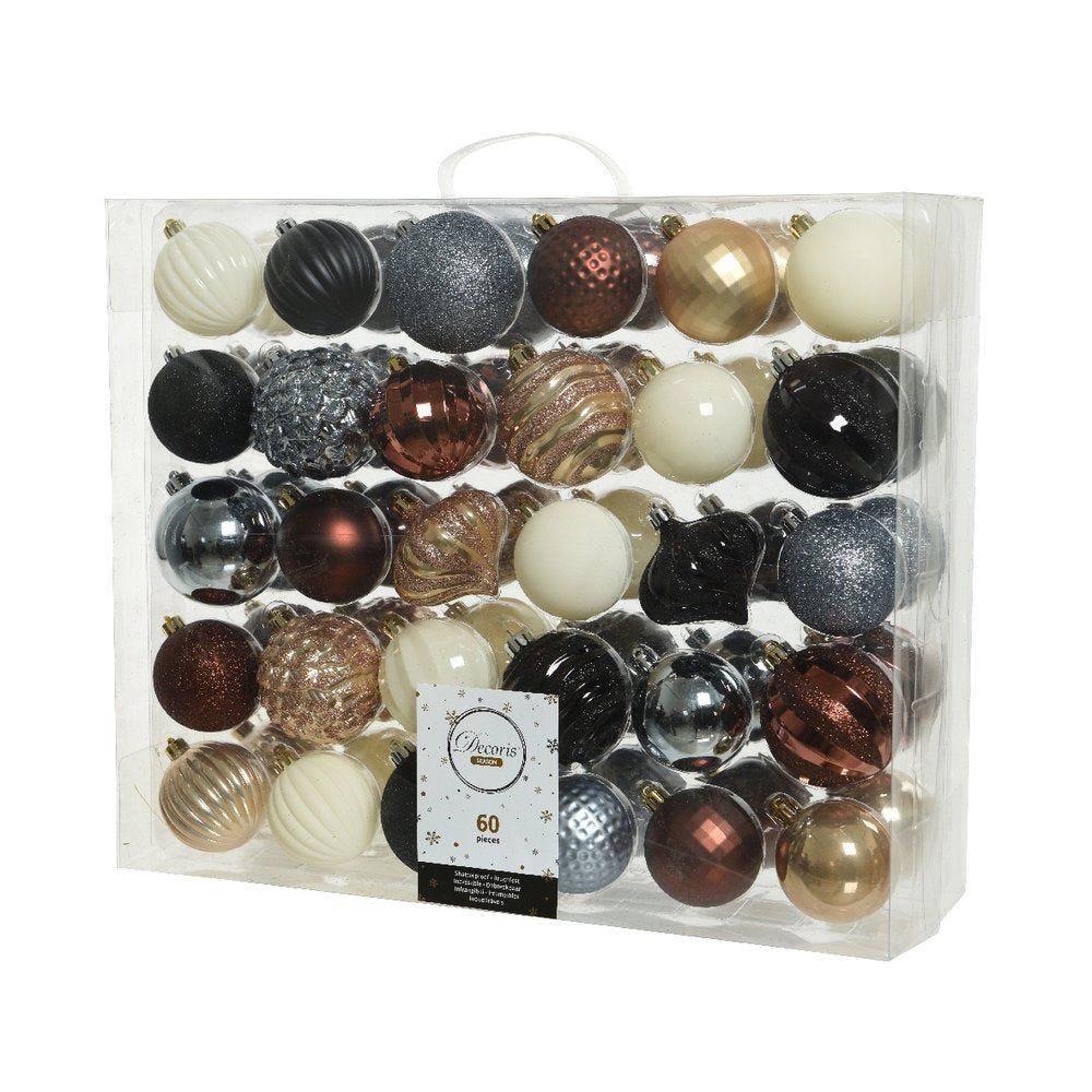 Boules en plastique Ø 6 et 7 cm - coloris assortis - boite de 60