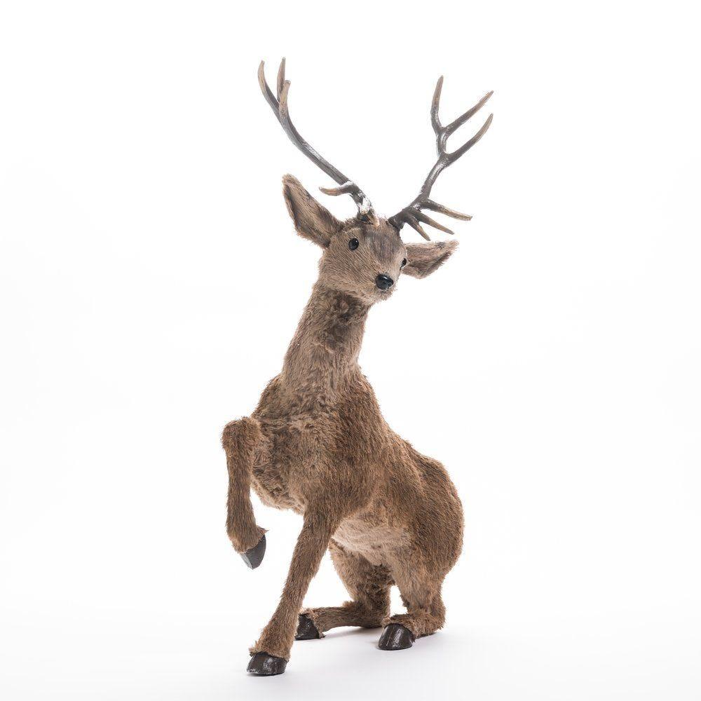 Cerf marron assis L 50,5 x P 25 x H 52 cm (photo)
