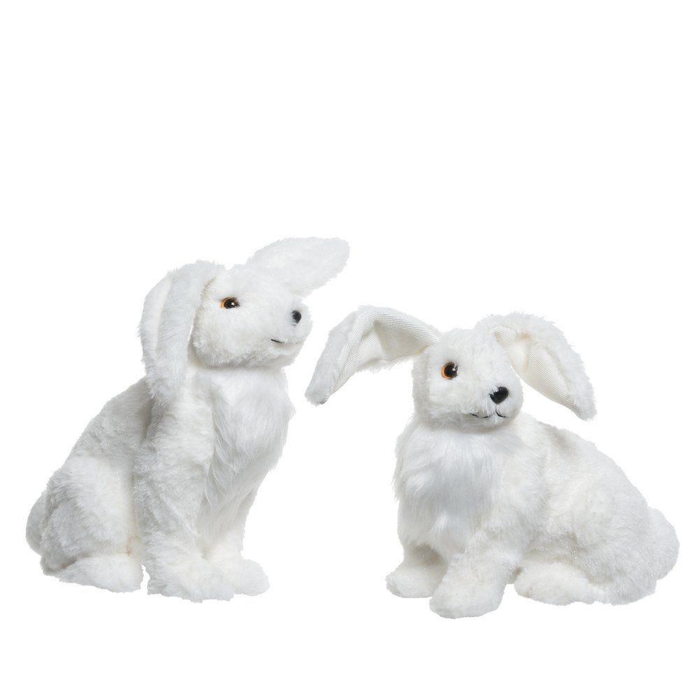 Lièvre des neiges blanc - L 17 x P 30 x H 30 ou L 18 x P 27 x H 27 cm (photo)