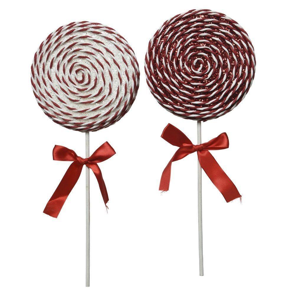Sucette rouge et blanc avec noeud satin Ø 14 x H 36 cm - 2 modèles possibles (photo)