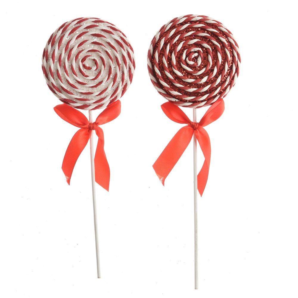 Sucette rouge et blanc avec noeud satin Ø 9,5 x H 28 cm - 2 modèles possibles (photo)
