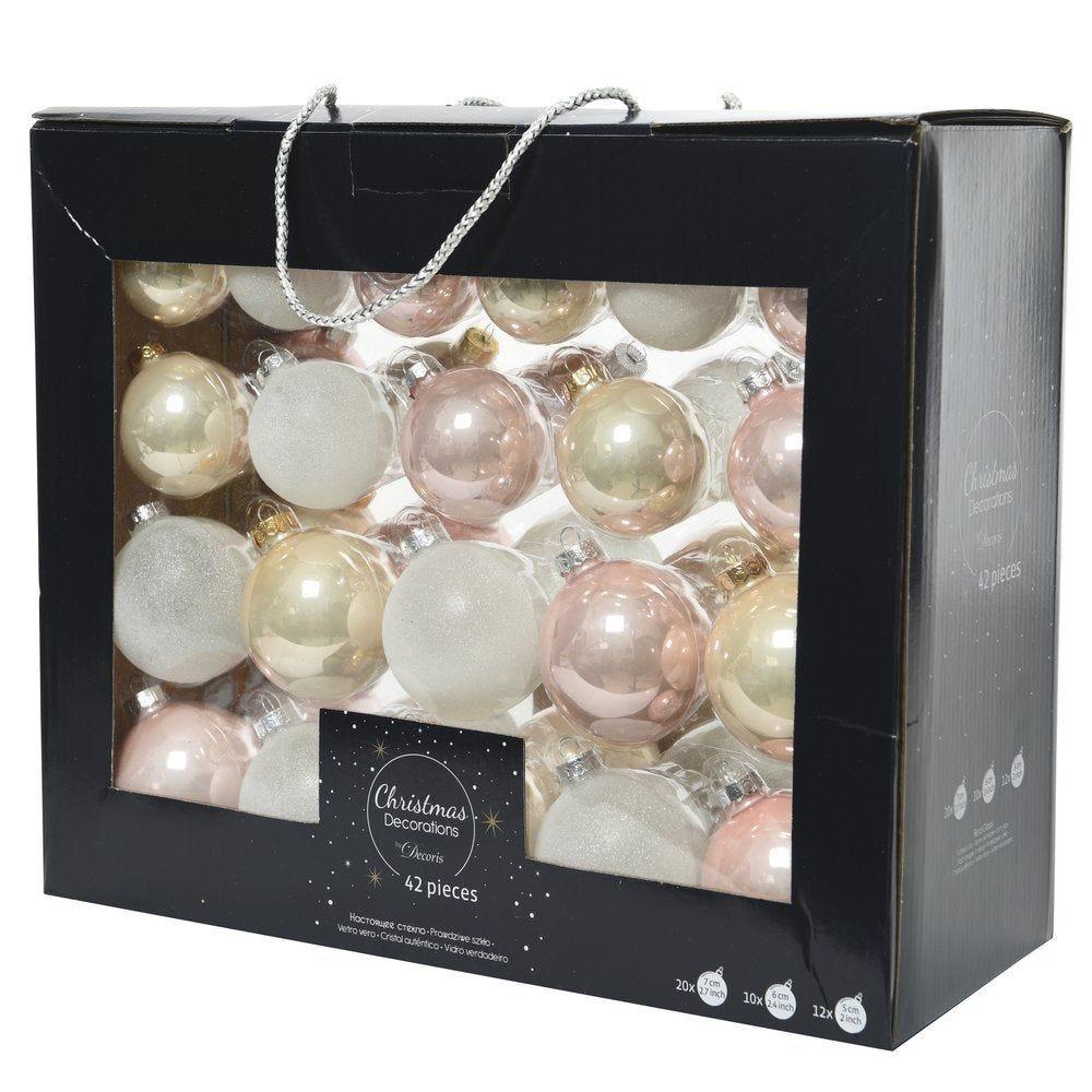 Boules en verre Ø 5 à 7cm assorties - boite de 42