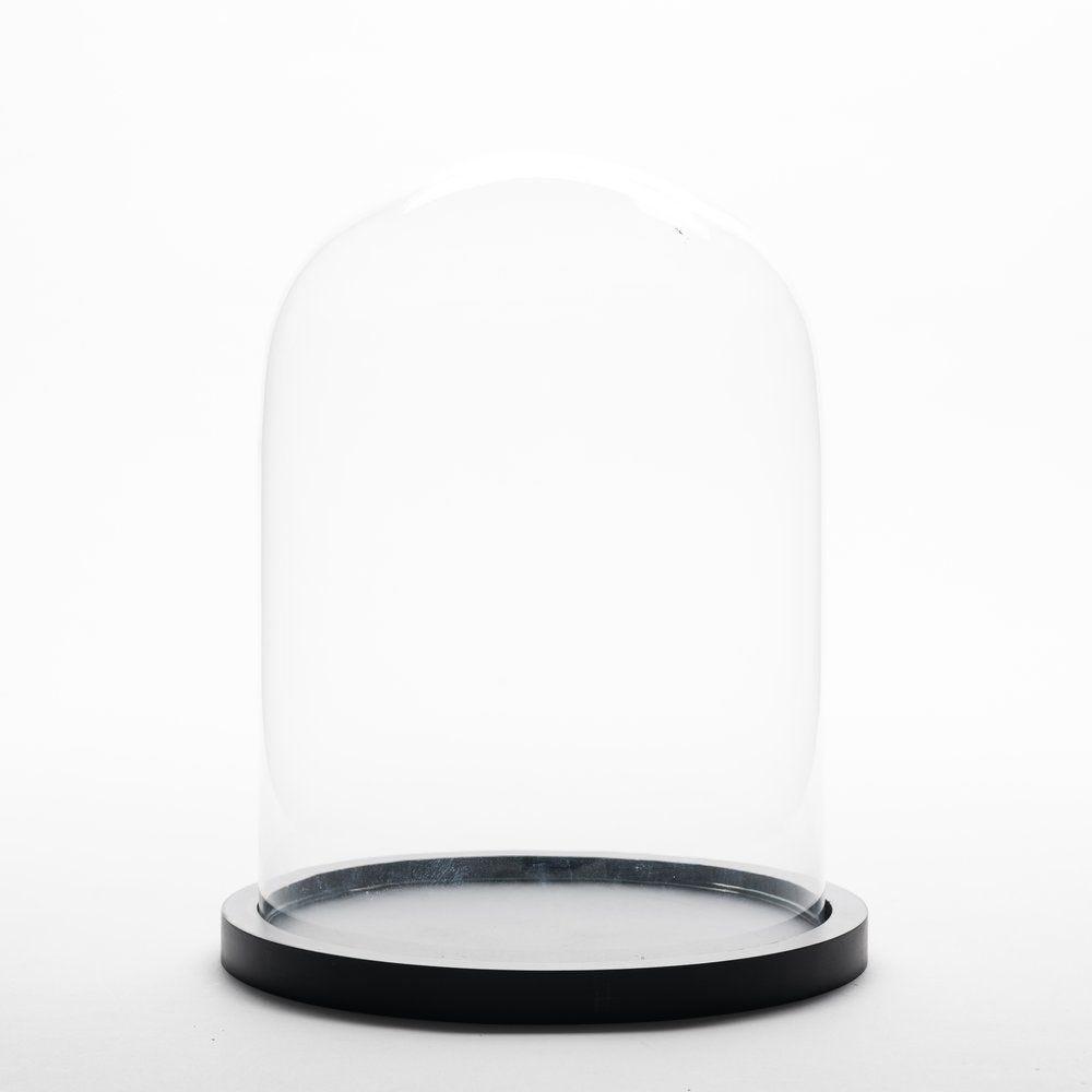 Cloche en verre sur socle en bois Ø 18.5 x H 25.5 cm (photo)