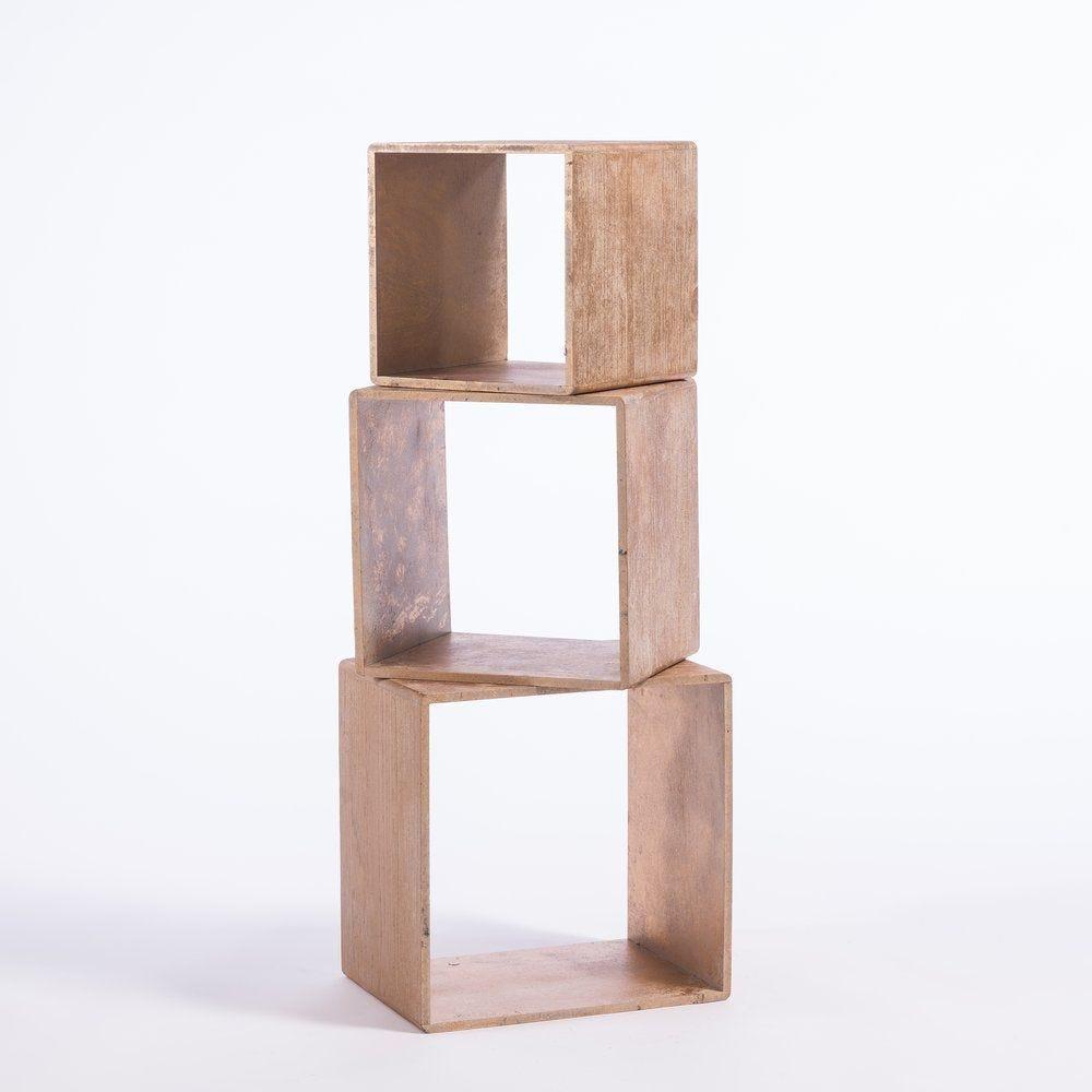 Cubes mordorés L 35 x P 25 x H 35 +  L 30 x P 25 x H 30 + L 25 x P 25 x H 25 cm (photo)