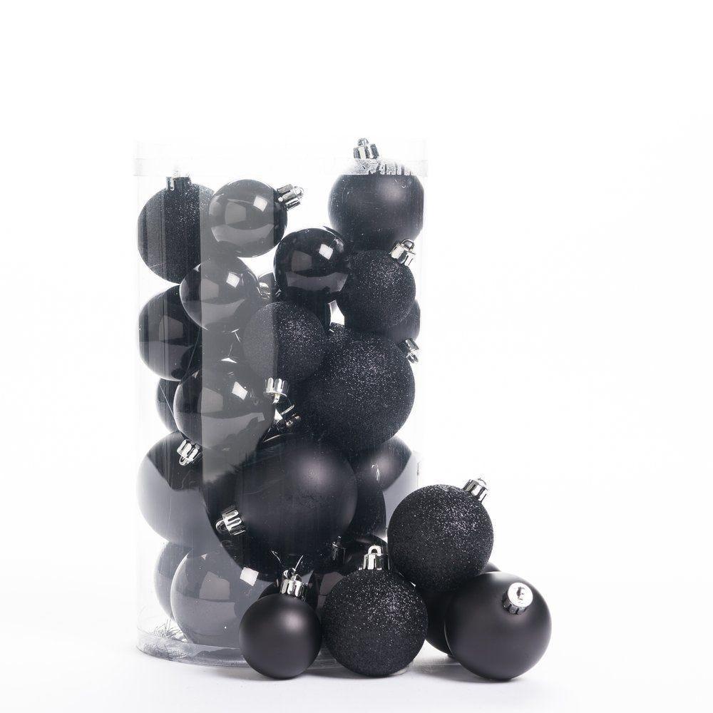 Boules en plastique noir Ø 4 à 6cm - finitions assorties - boite de 30
