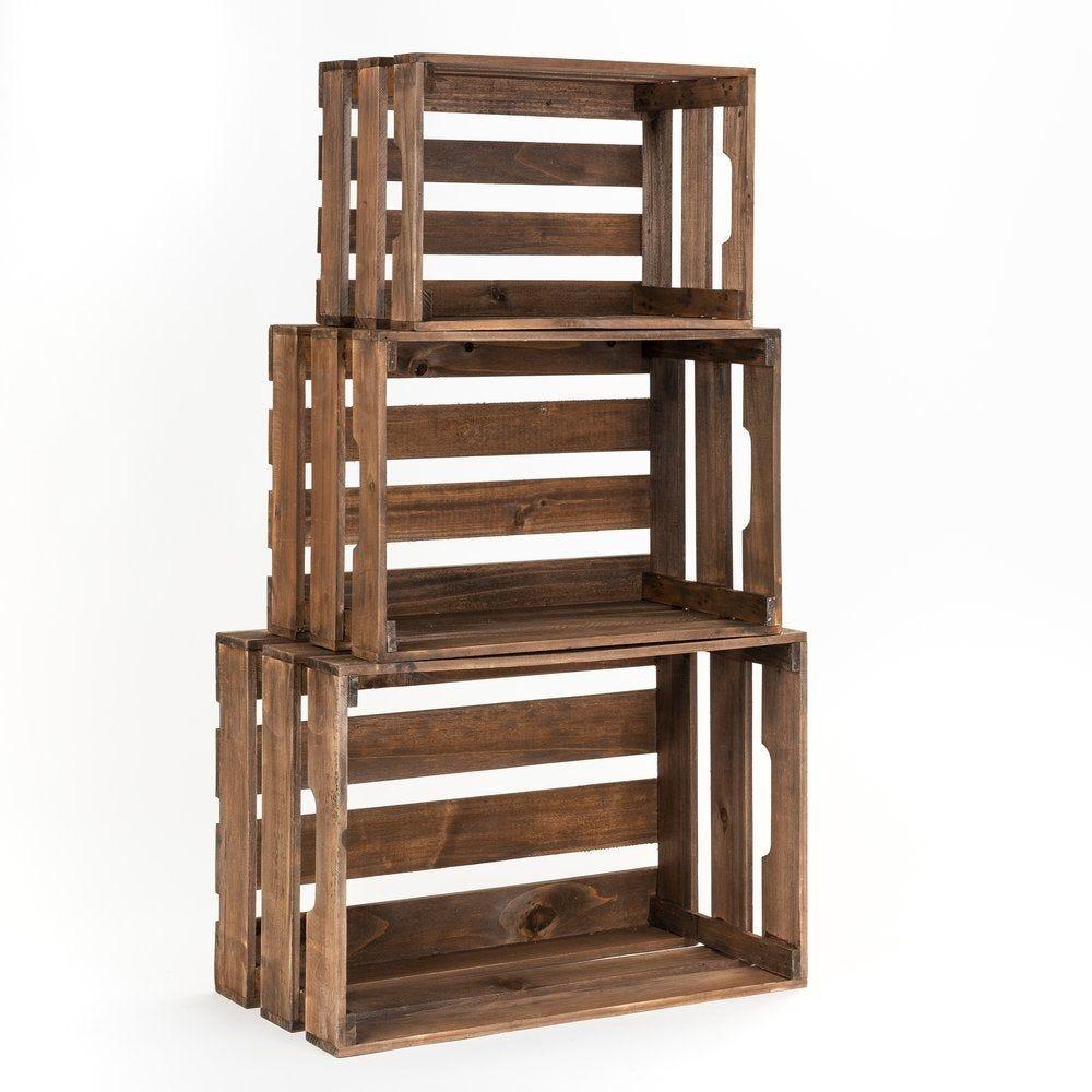 Caisses en bois marron L 45 x P 30,5 x H 24 + L 39 x P 26,5 x H 21 + L 33 x P 22 (photo)