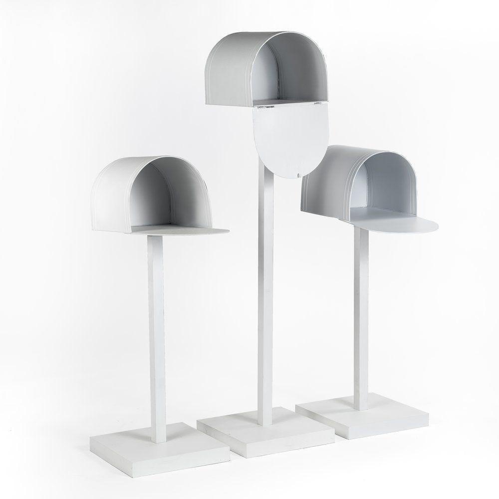 Boites aux lettres metal blanc h.85+120 - par 3 (photo)