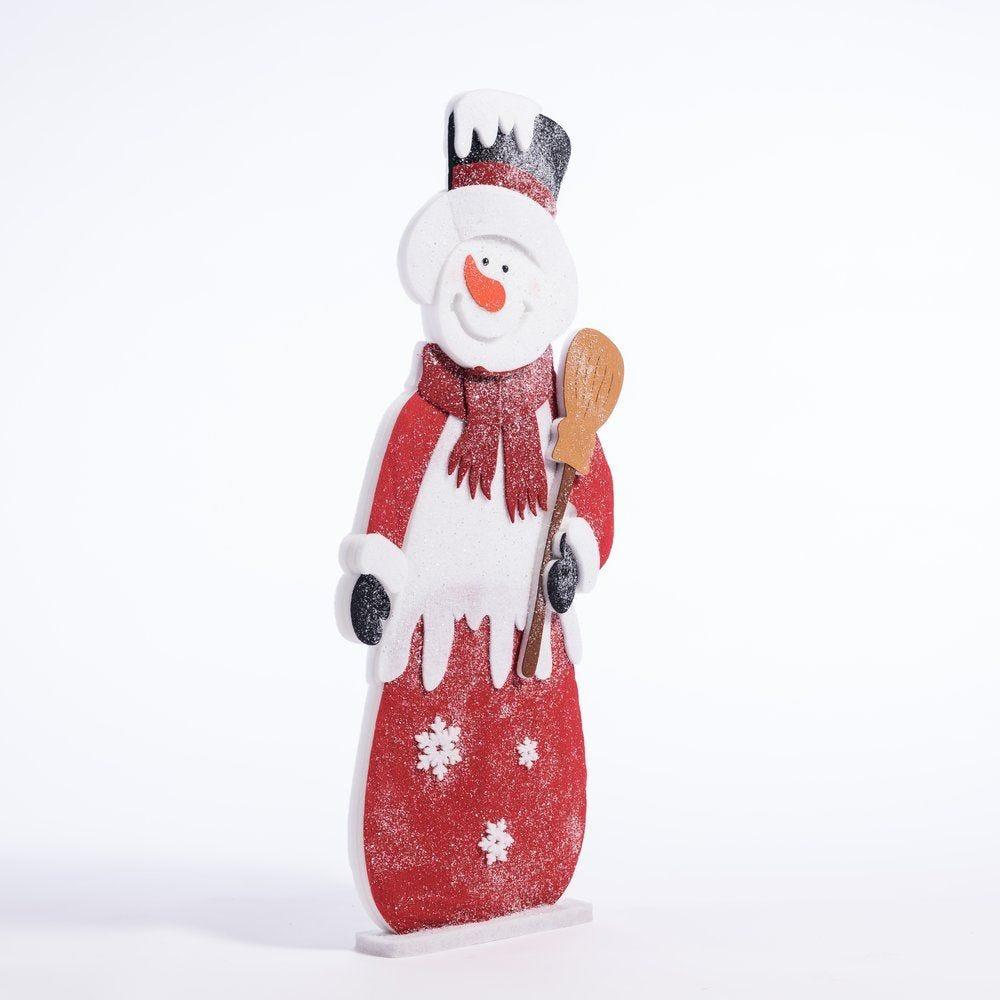 Bonhomme de neige en ouate rouge et blanc L 54 x H 122 cm (photo)