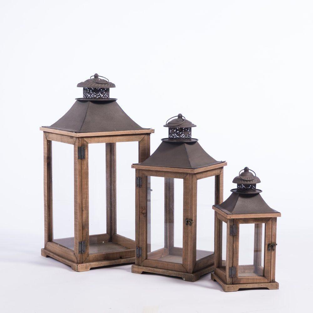Lanternes en bois L 33 x H 73 + L 26 x H 59 + L 19 x H 42 cm - par 3 (photo)