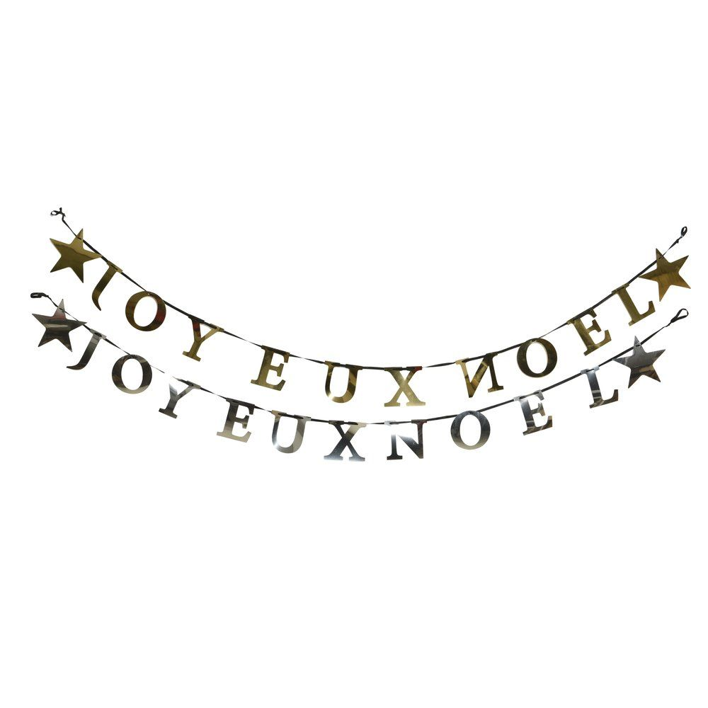 Guirlande texte JOYEUX NOEL L.180 cm - or ou argent (photo)