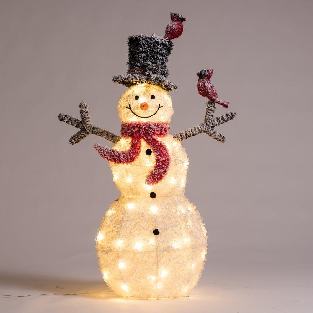 Bonhomme de neige 50 leds blanc chaud H 120 cm (photo)