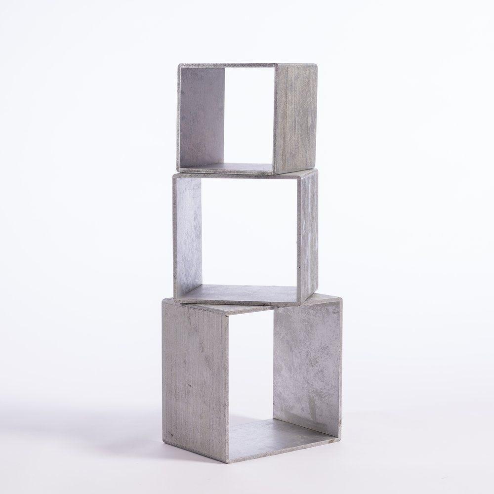 Cubes argentés L 35 x P 25 x H 35 +  L 30 x P 25 x H 30 + L 25 x P 25 x H 25 cm (photo)