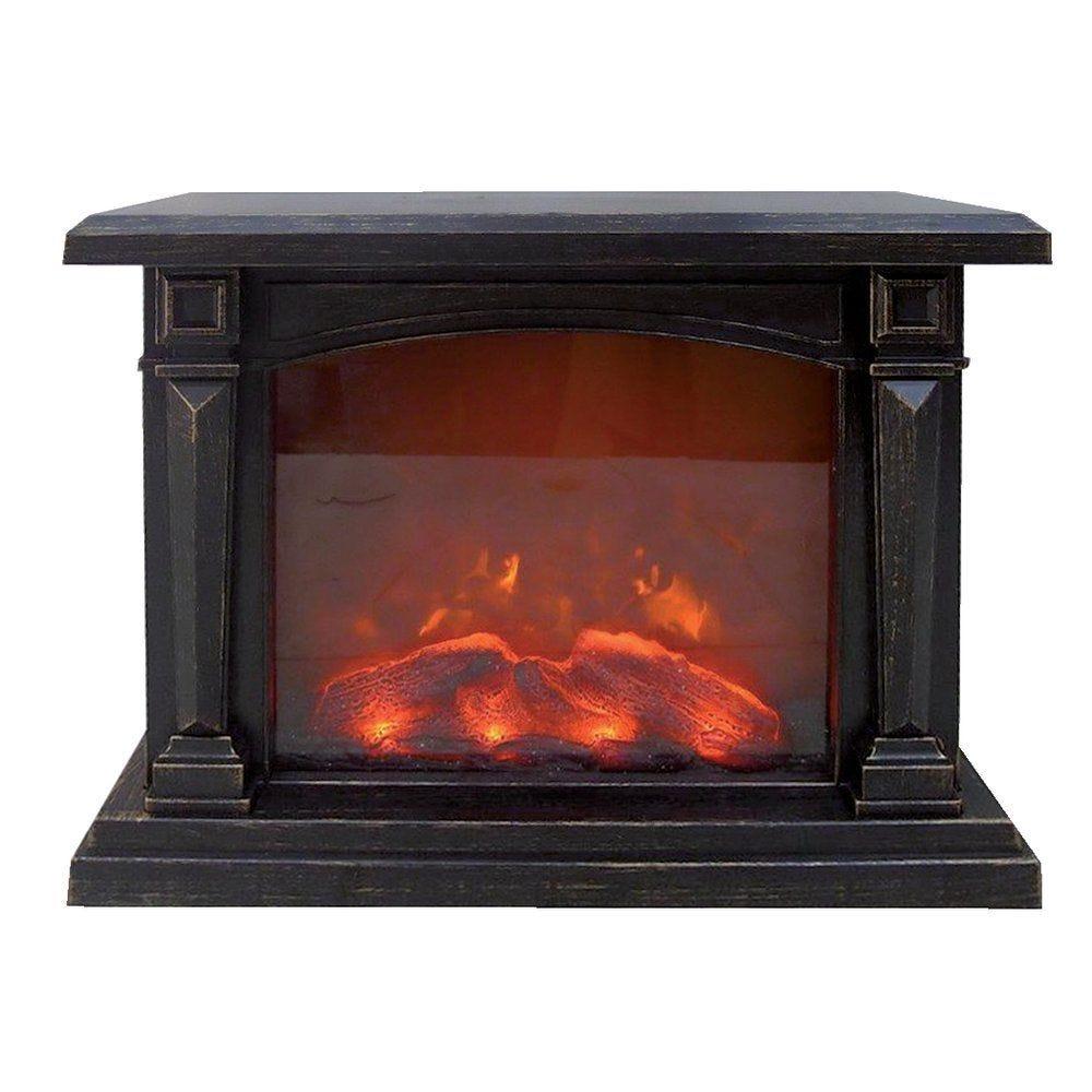 Cheminée animée avec flammes L 42 x P 16 x H 33 cm (photo)