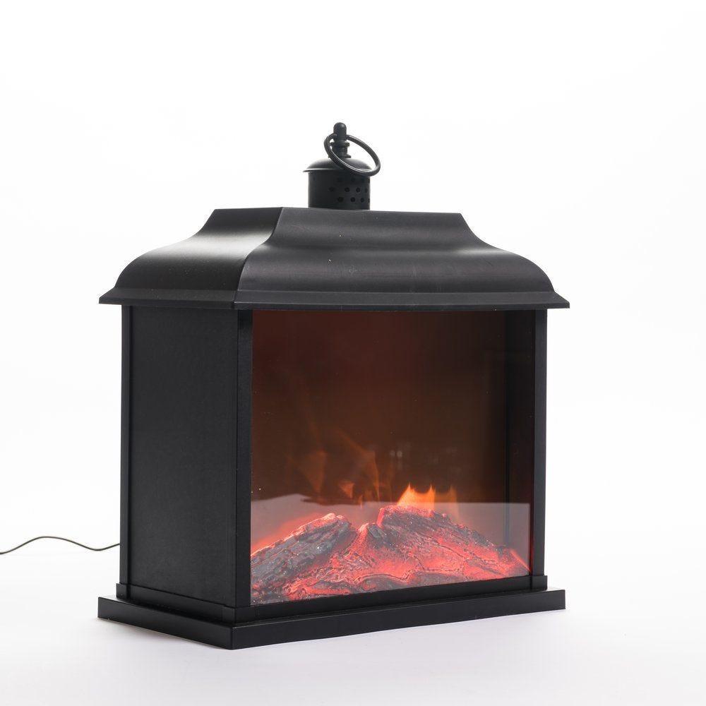 Lanterne animée flammes L 30 x P 17,5 x H 29,5 cm (photo)