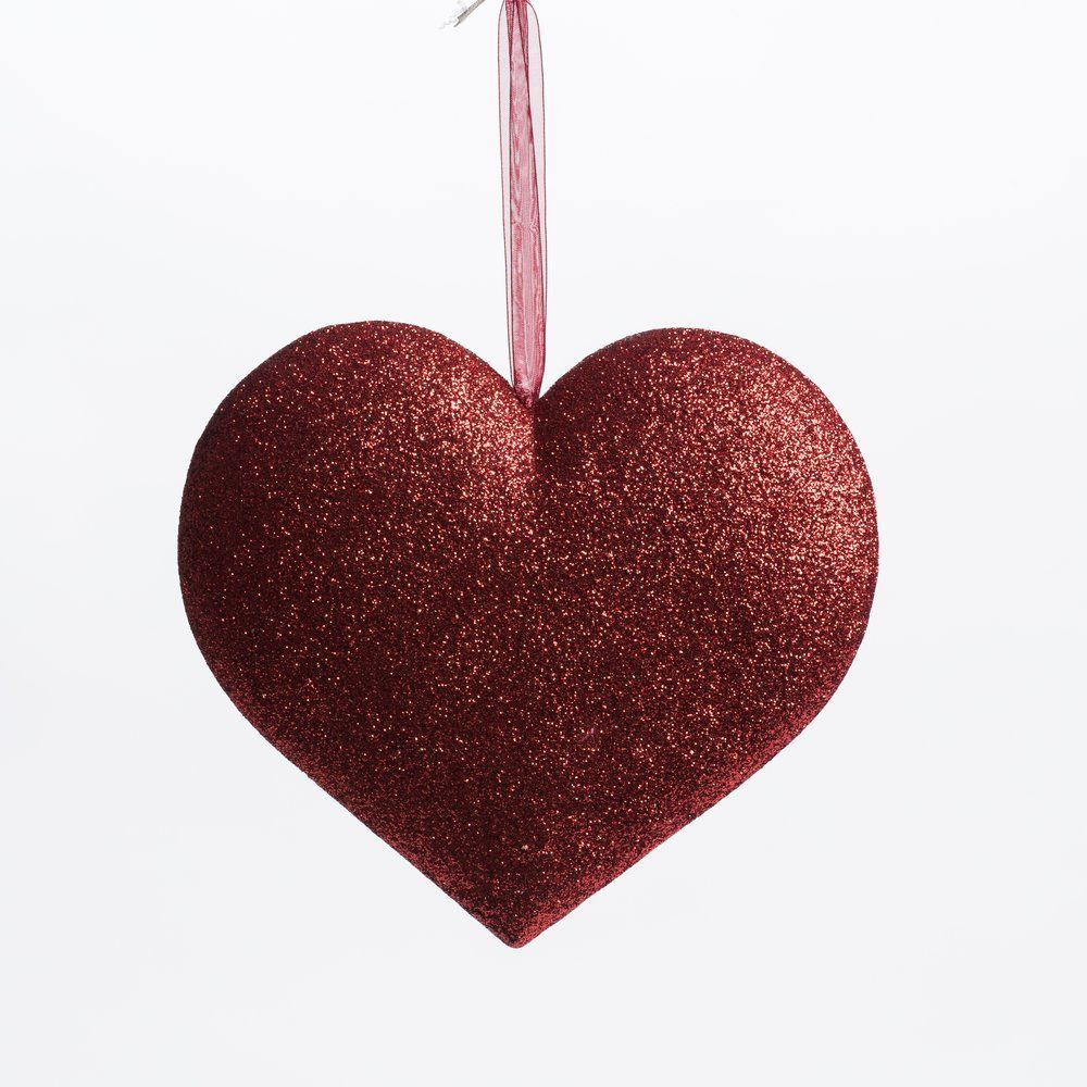 Coeur rouge glitter à suspendre L 21 x P 4 x H 18.5 cm (photo)