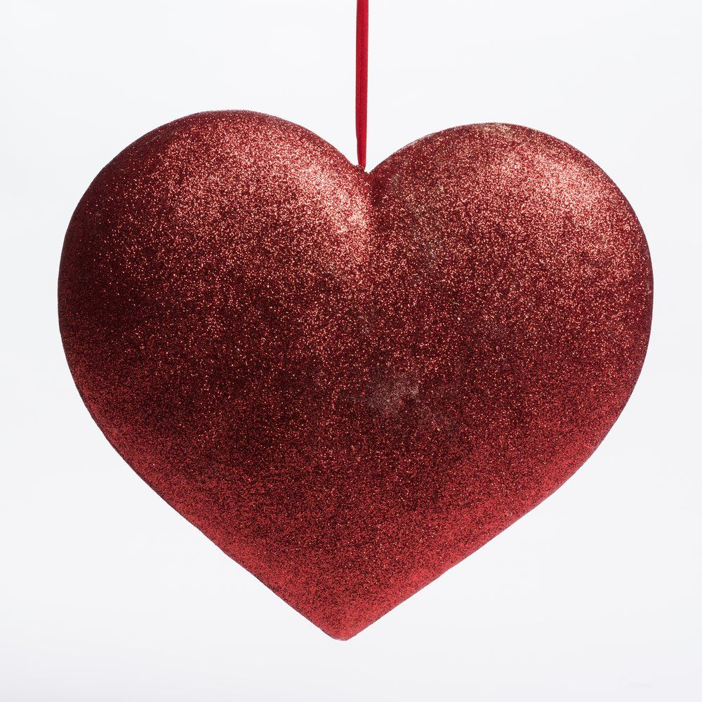 Coeur rouge glitter à suspendre L 37 x P 7 x H 33 cm (photo)