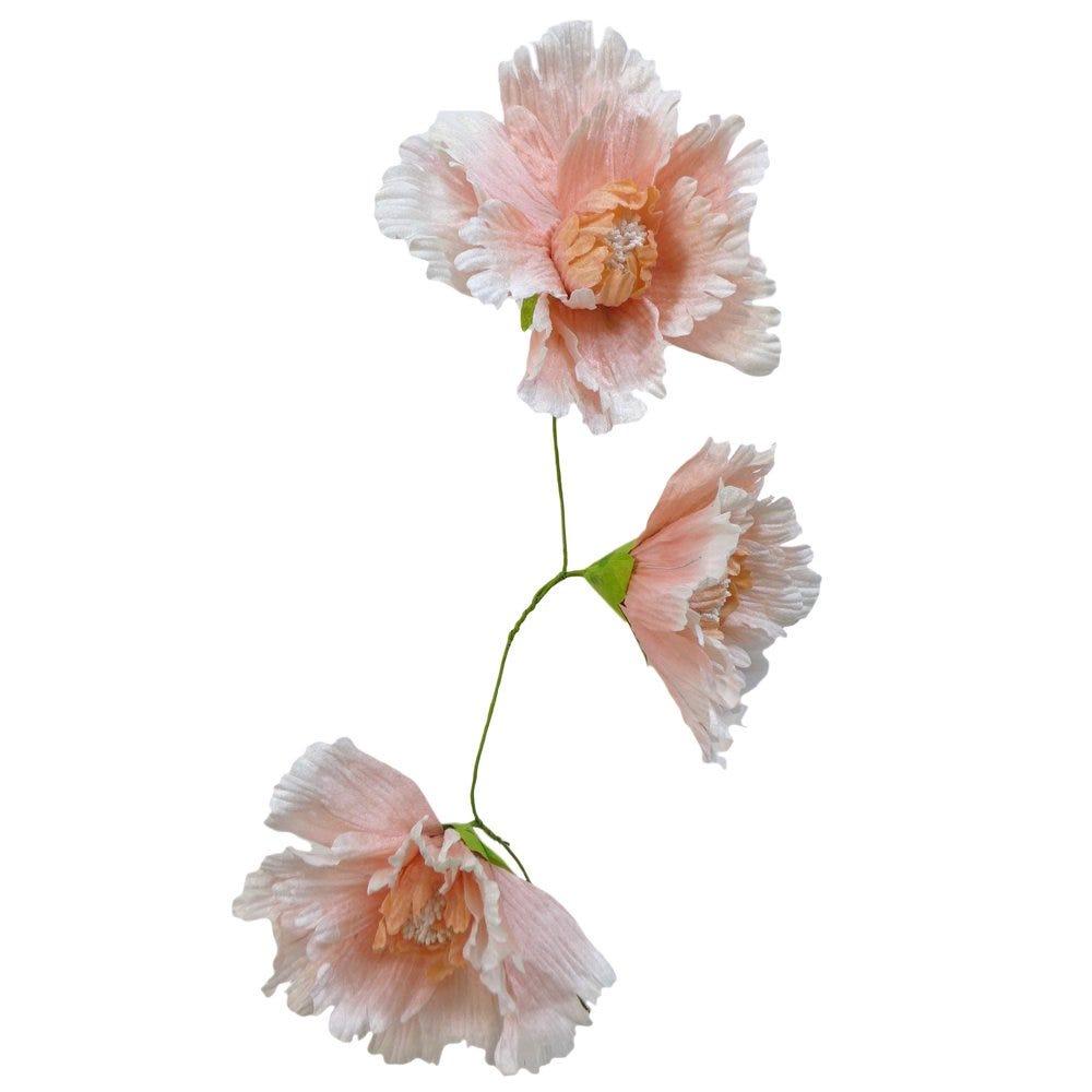 Guirlande de 3 fleurs papier rose L 90 cm (photo)