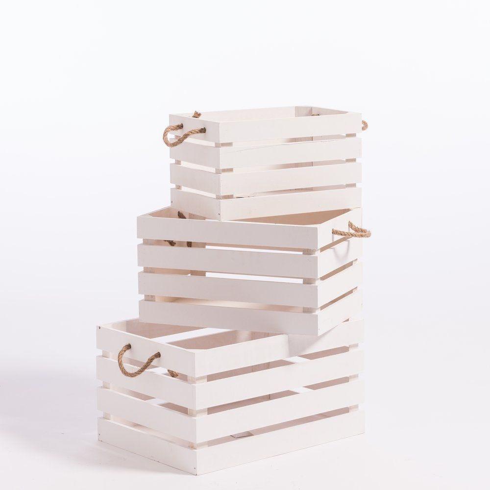 Caisses en bois blanc avec anses 30x41x22cm+25x36x20cm+20x31x18cm (photo)