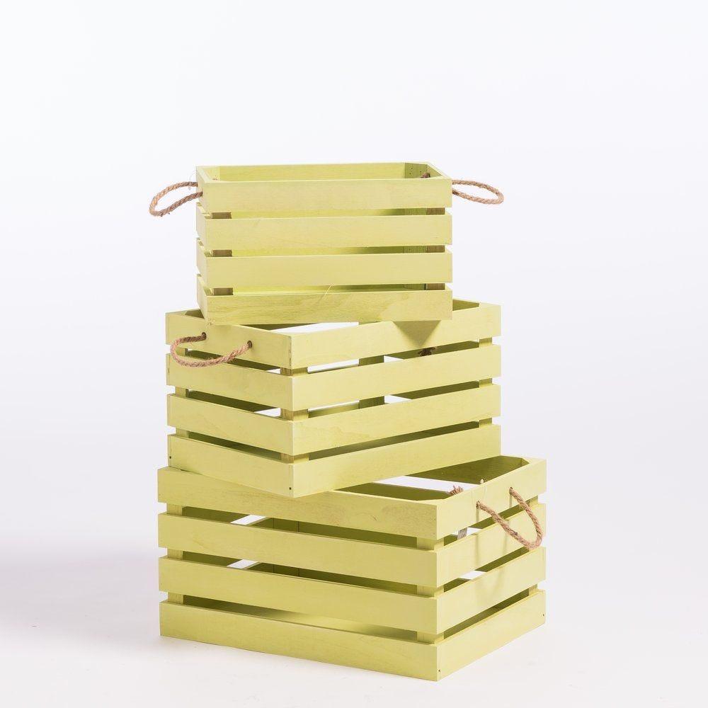 Caisses en bois vert avec anses 30x41x22cm + 25x36x20cm + 20x31x18cm x3 (photo)