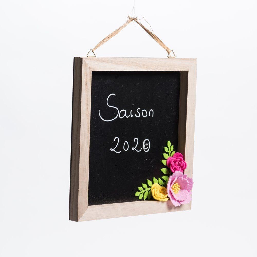 Ardoise carrée avec fleurs L 26 x P 2.5 x H 26 cm (photo)