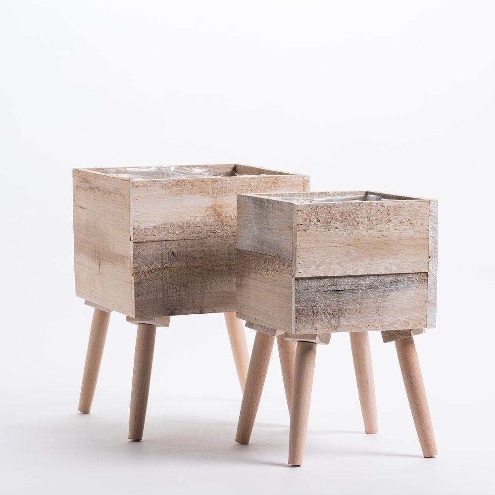 Cache-pots en bois sur pied L 26 x P 26 x H 34 + L 19 x P 19 x H 32 cm par 2 (photo)