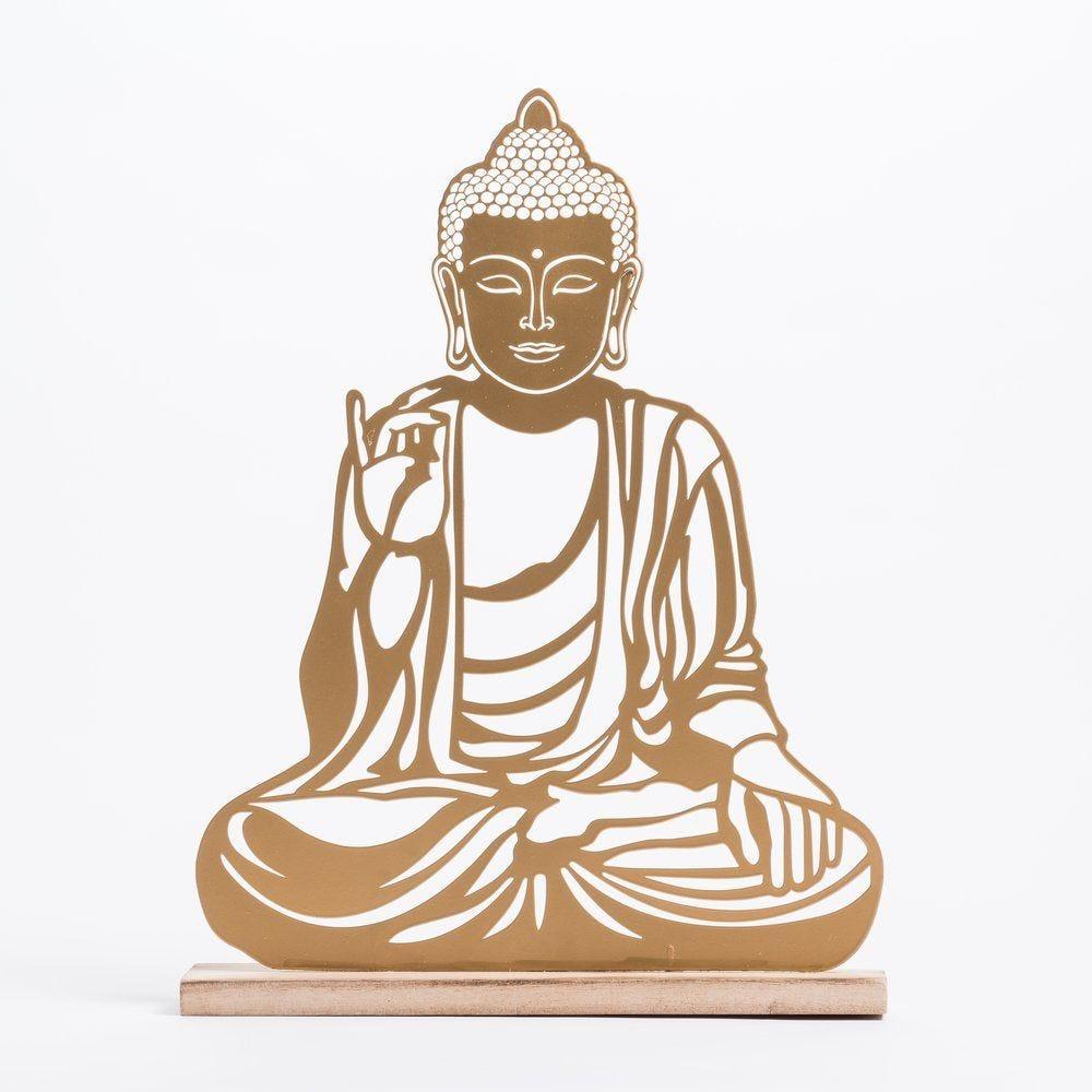 Bouddha doré assis L 31 x P 6 x H 41 cm (photo)