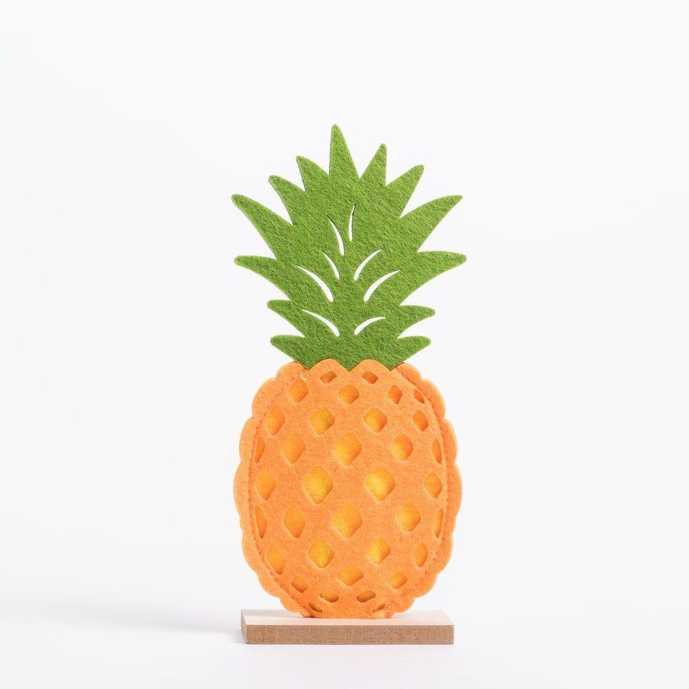 Ananas feutrine sur socle L 10,5 x P 5 x H 24 cm (photo)